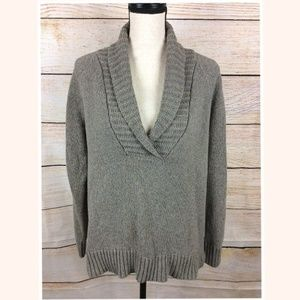 Eddie Bauer Taupe Brown/Gray V-neck XL Sweater